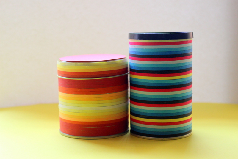 Jars made using quilling ribbons