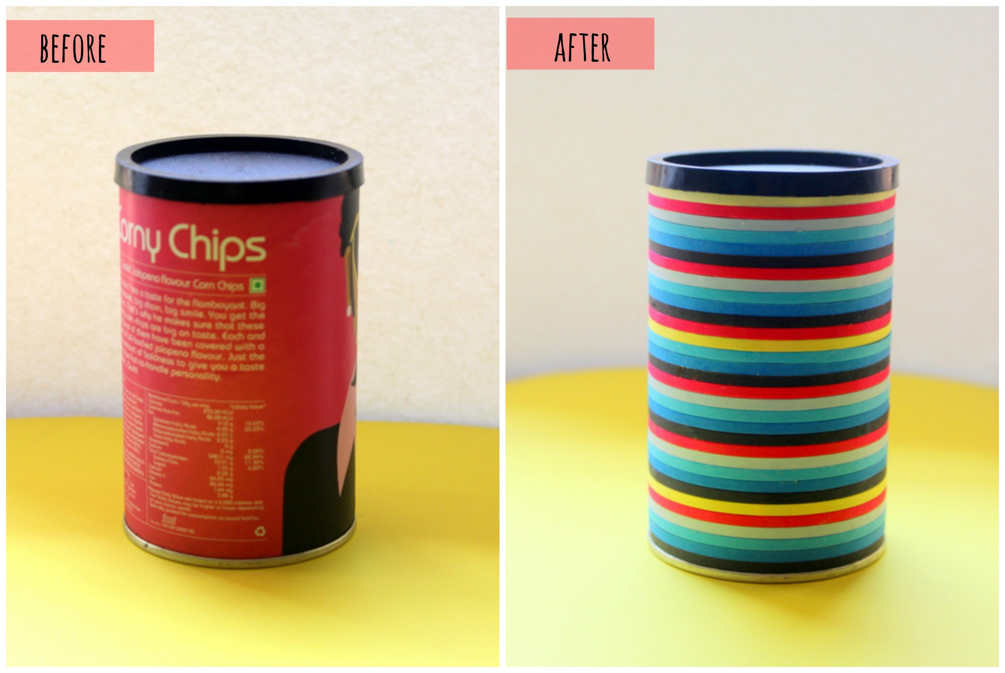 before and after shots of chip box