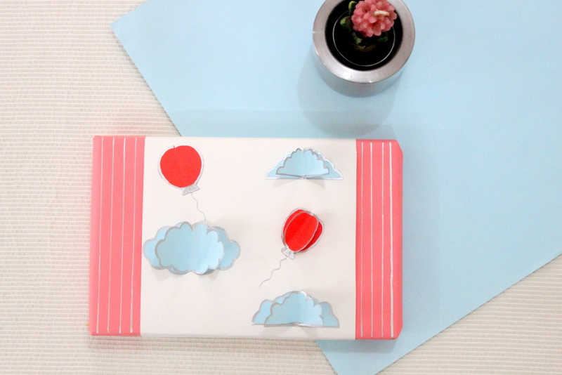 Balloons and clouds pop up packing - The Craftables