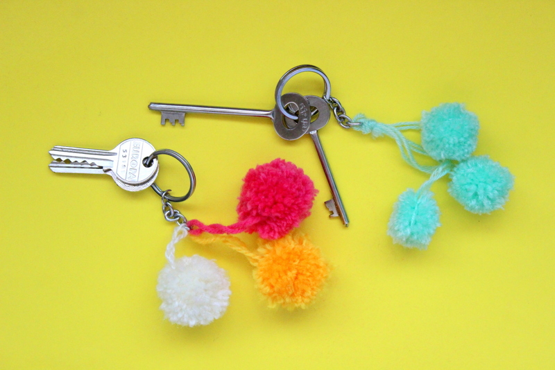 Pom pom keychains, handmade, crafts, DIY, crafts for kids, crafts for adults, organisation