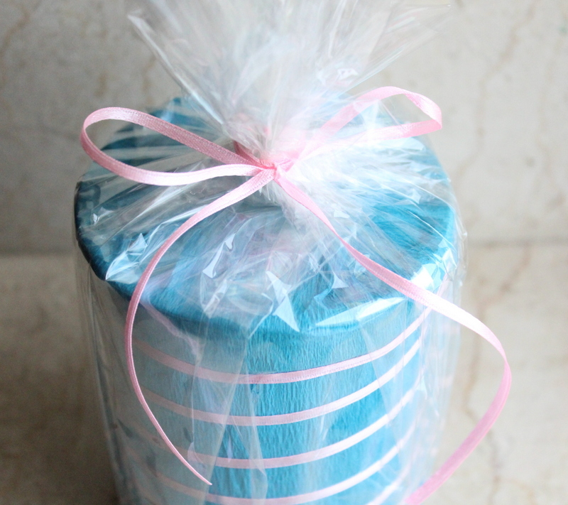 close up of round gift packing