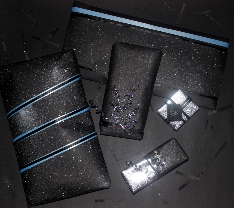 Packed gifts with starry nights paper - The Craftables