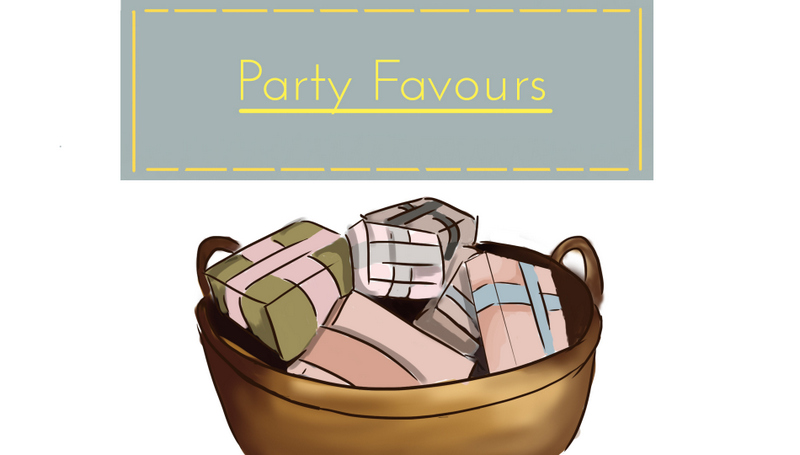 party planning, theme idea, mismatched, DIY, decor, party favors, goody bags