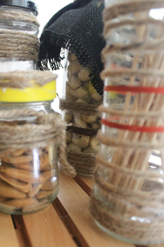 super close up of twine jars