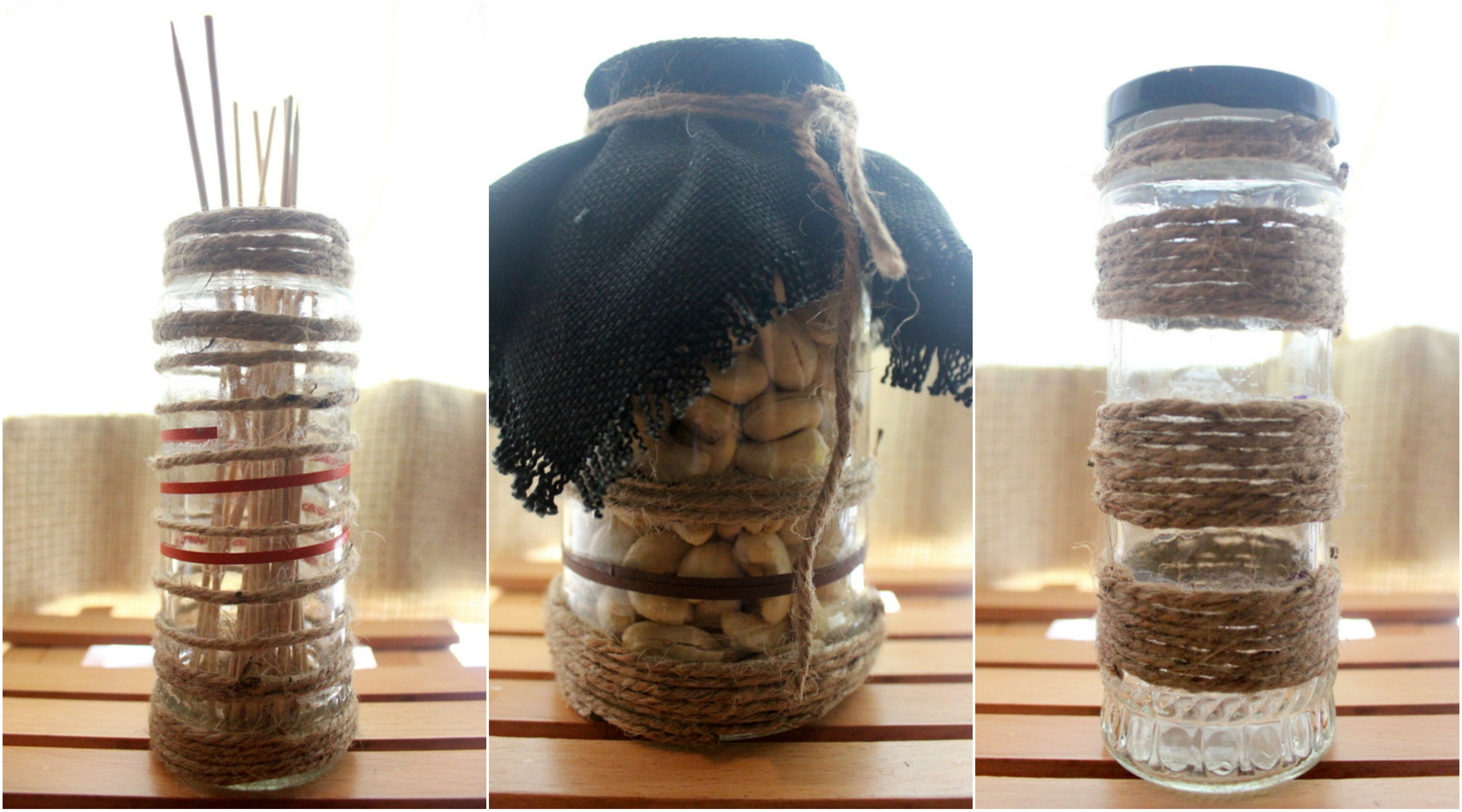 Long twined up jars