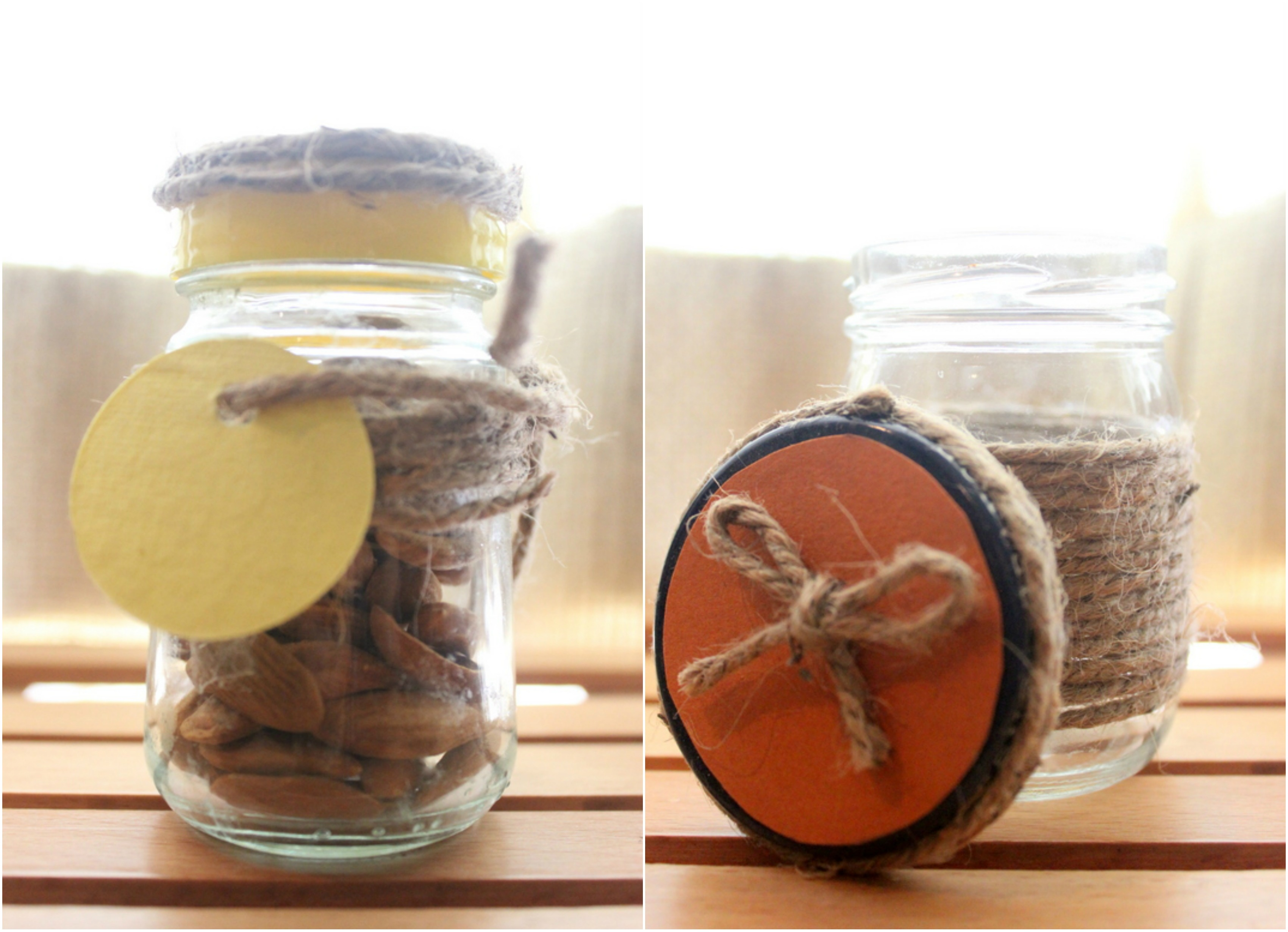 Small twined up jars