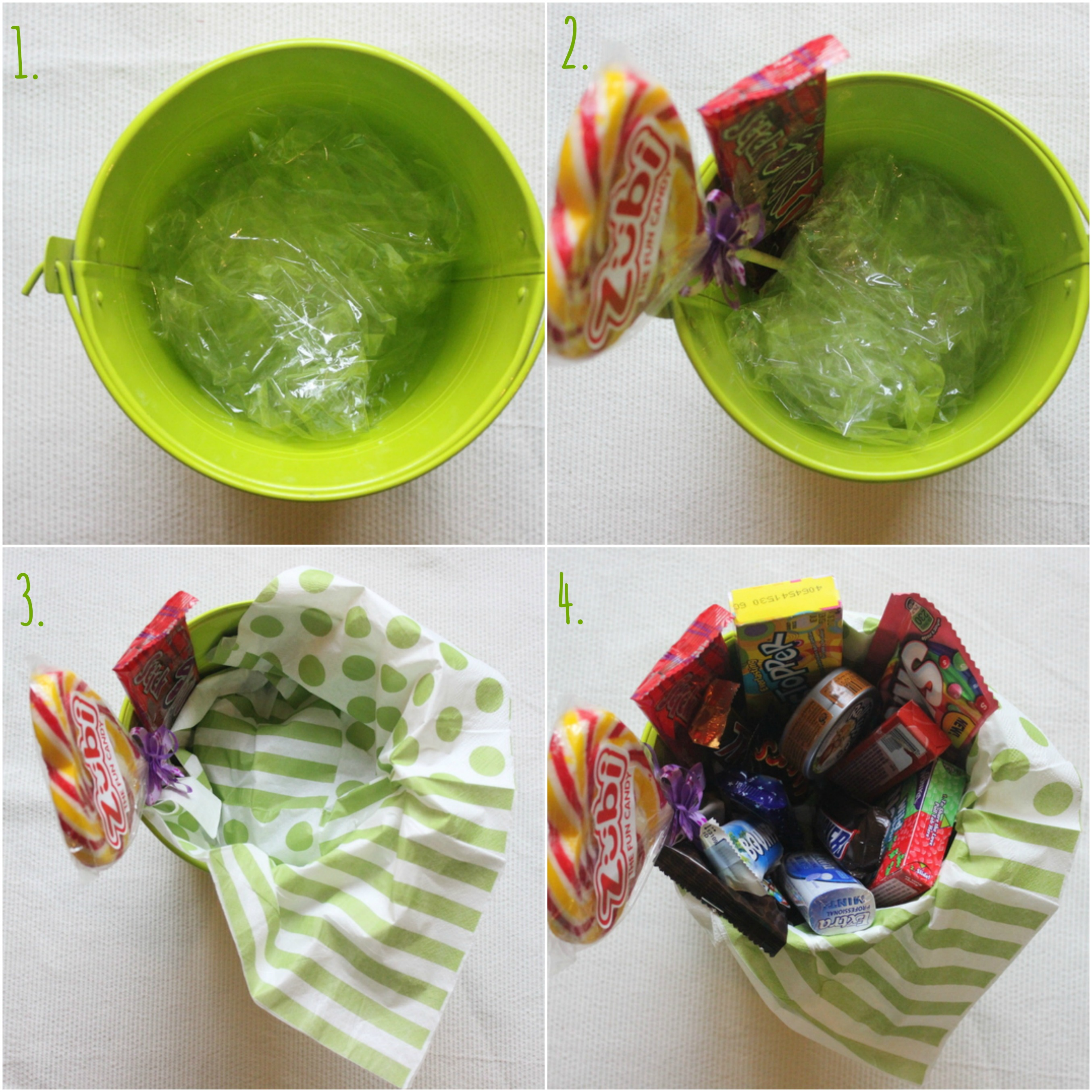 How to make a candy bucket steps