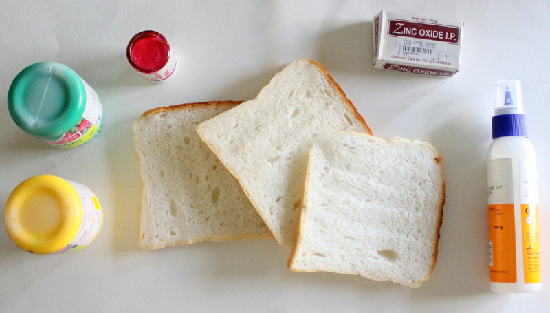 bread art with colors and glue