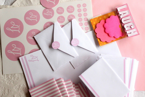 pretty in pink, stationery, pink stationery, pink, custom made, handmade, the craftables, gift ideas, birthday, gifts, presents, gift ideas for her, crafts for kids, easy to make, diy, crafts tutorials, do it yourself, personalised