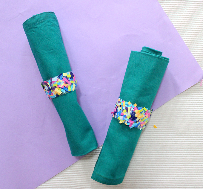 Why make Confetti Napkin Rings in easy steps. Because who doesn't love confetti? DIY Tutorial in the link - The Craftables