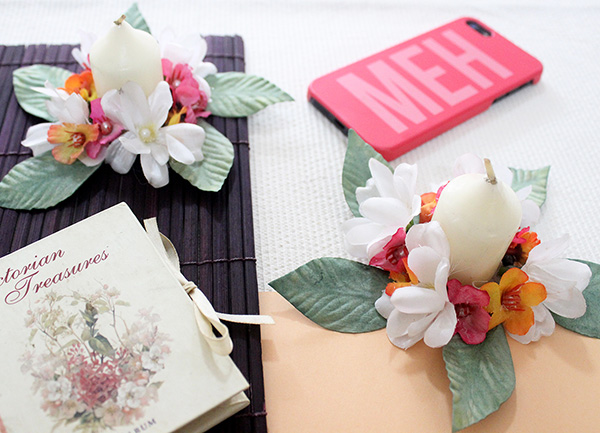 How to make pink, orange and white floral candle holders in easy steps, with artificial flowers in minutes using our DIY tutorial. Have a great day ahead :) - The Craftables