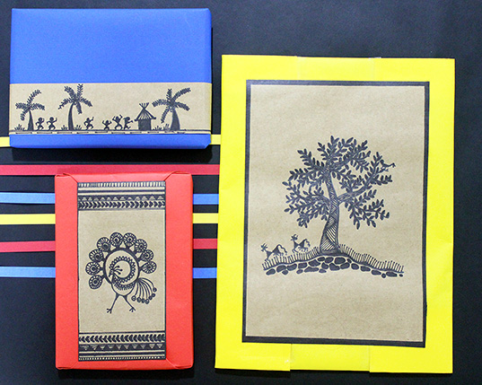 Using traditional warli to cover up our gift wrapping mistakes!