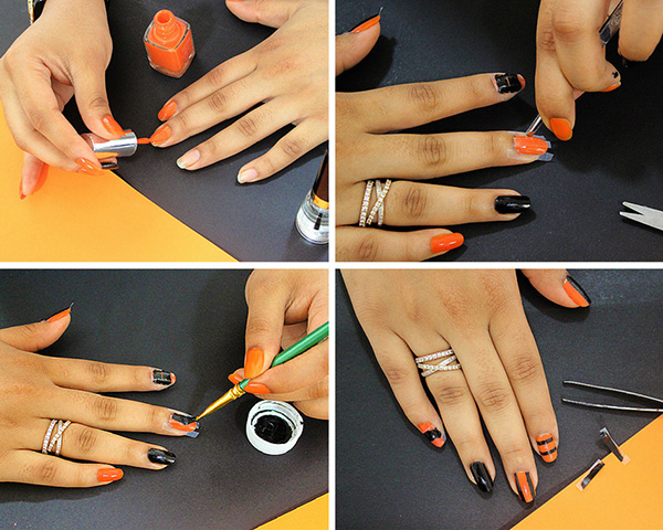 How to paint geometric halloween inspired nails!