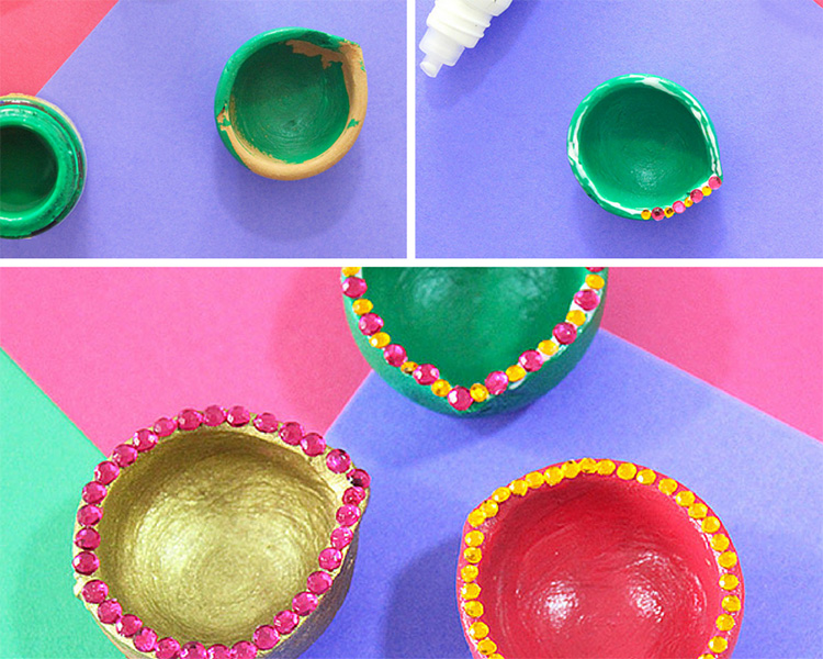 green diya painting and decoration