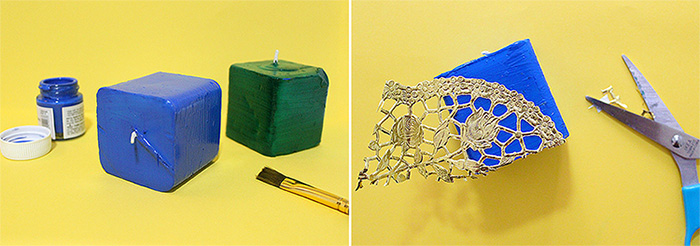 How to make Decorative Candles on a Budget // Doily or Kirigami Cutouts