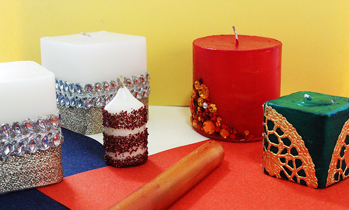 How to make Decorative Candles on a Budget - stones, zari, doilies, ombre paint, glitter