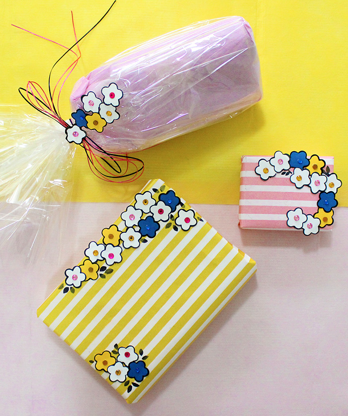 paper flower punch gift wrap