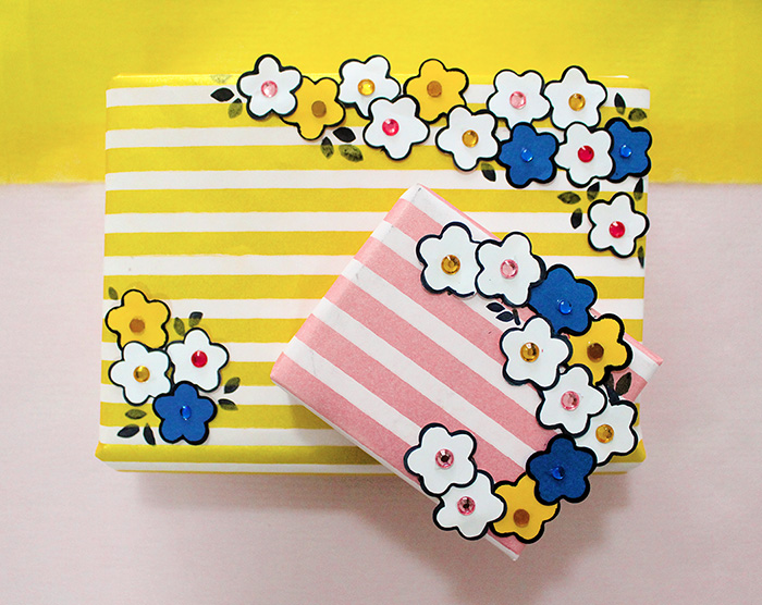 paper punch craft flowers gift wrap