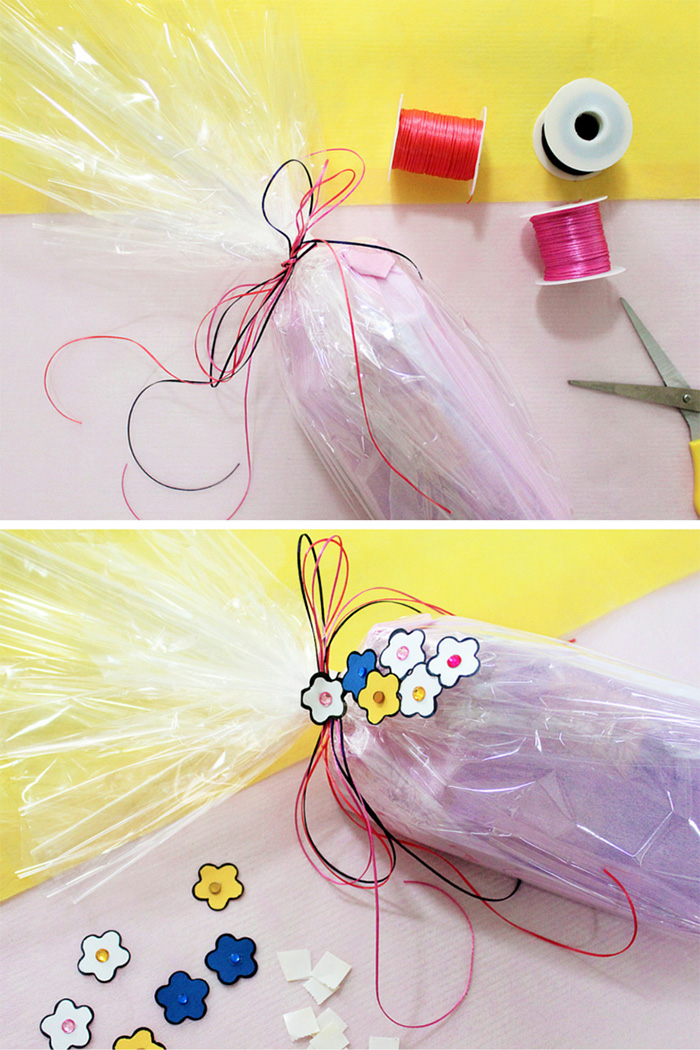 gift wrapping with flower paper punch