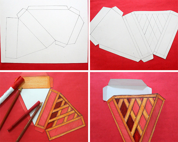 Steps on how to make paper pie boxes
