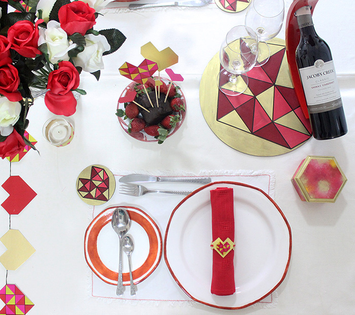 Geometric Heart Valentines Day Table Decor