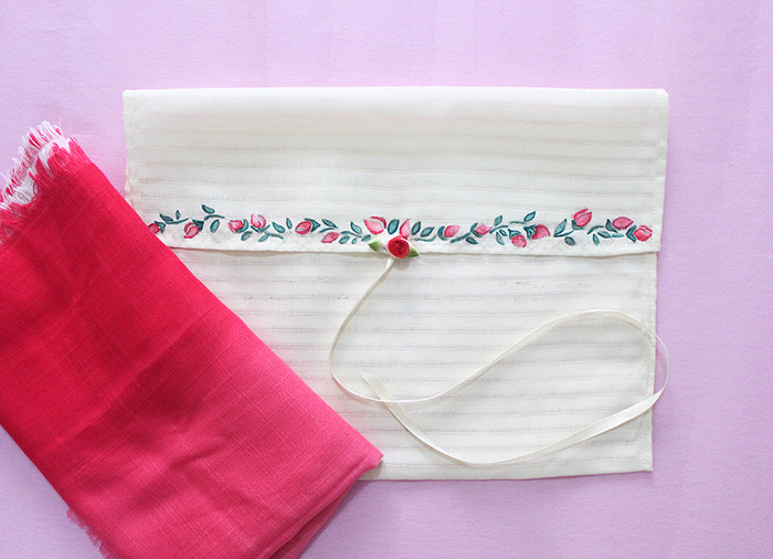 storage bag with red scarf