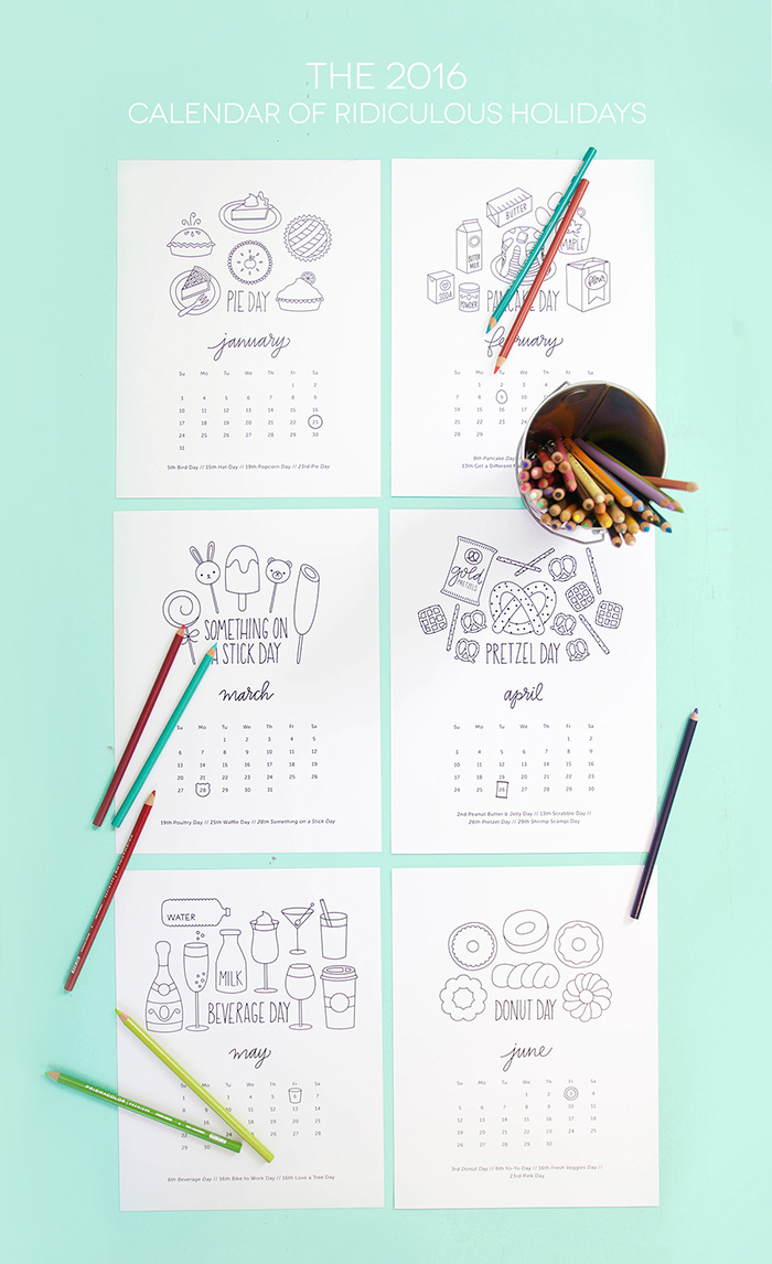 7 Start Of The Year DIYS To Try! Coloring Pages Calender by Damask Love