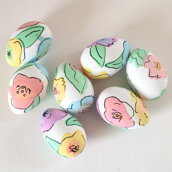 painted floral easter eggs