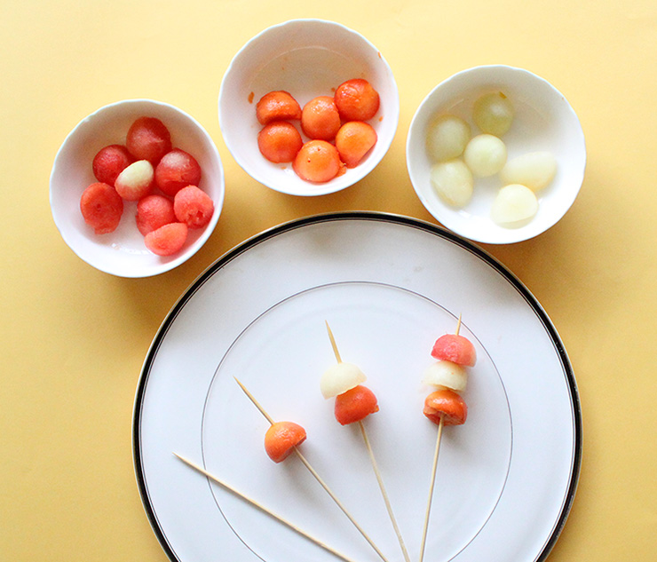 fruits on skewers