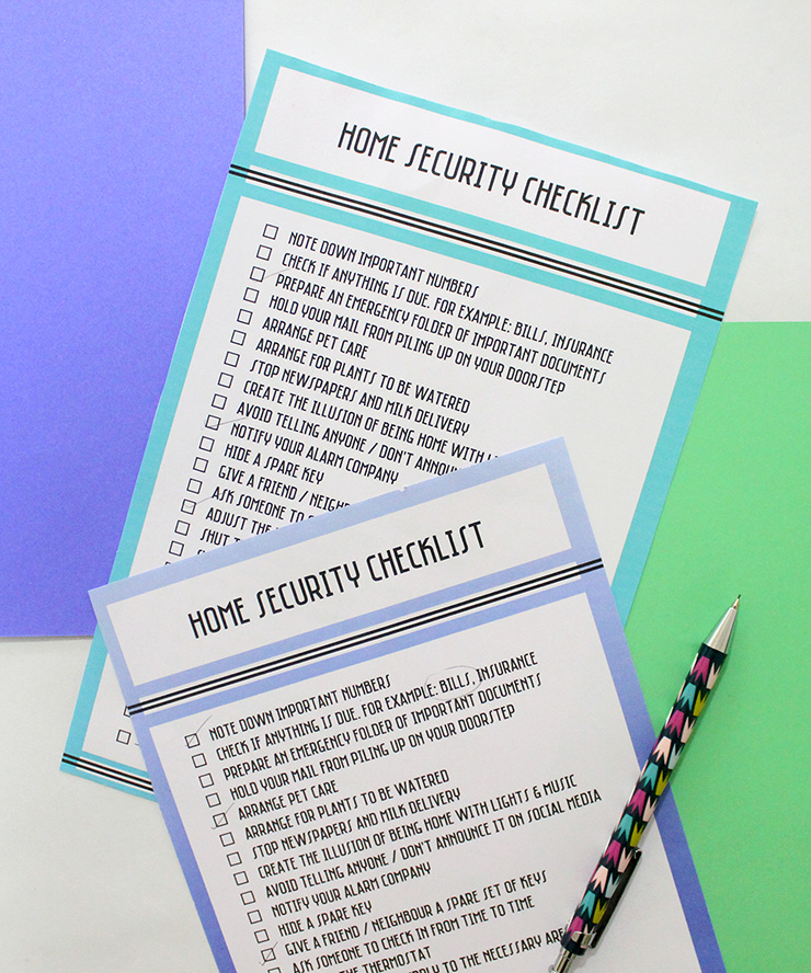 residential security checklist to print