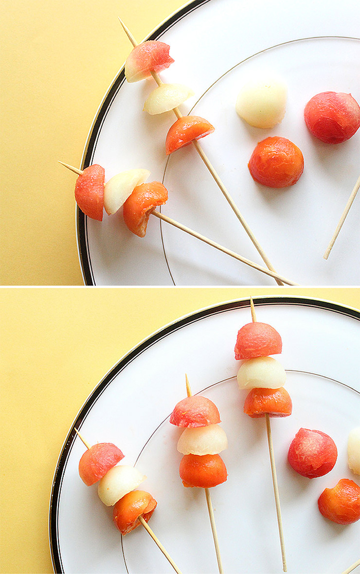 making fruit kabob skewers