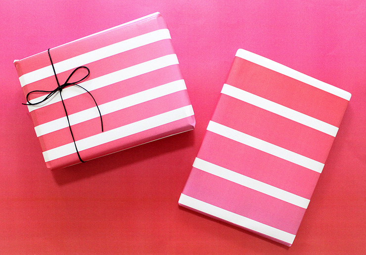 gift wrapped in pink stripe paper
