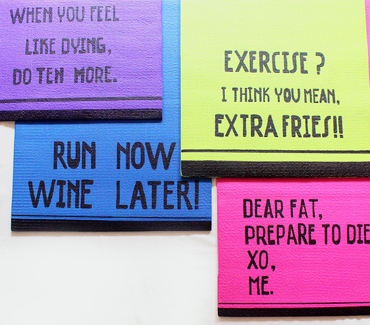Customised yoga mats with quotes