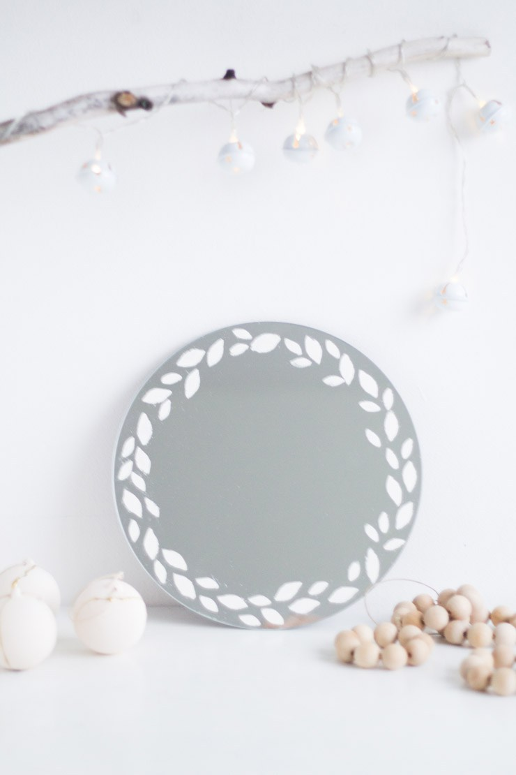 DIY Embossed Mirror Wreath