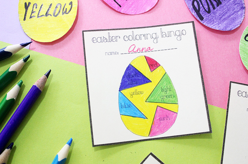 colouring bingo cards for kids