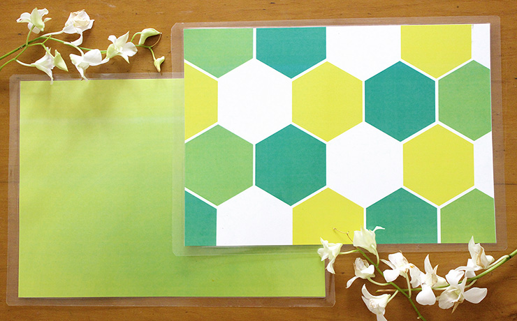 Green and Yellow Tablet Mats