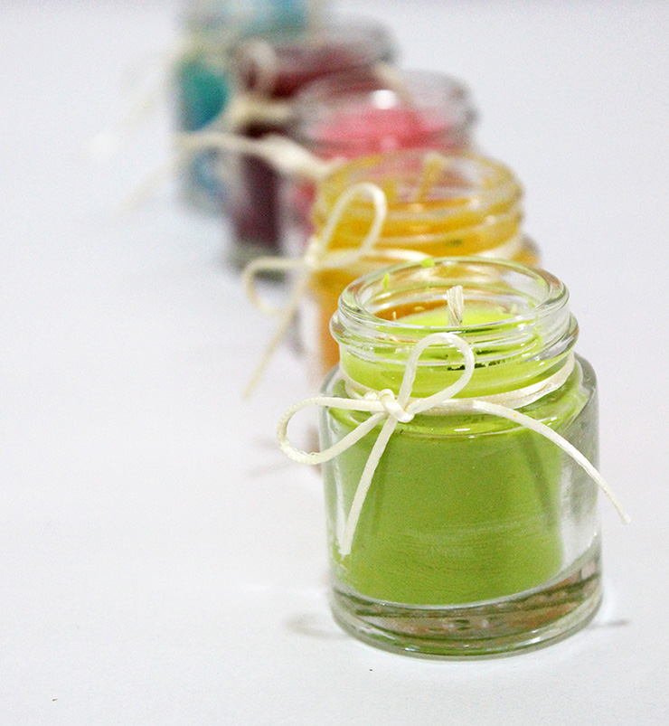Handmade Scented Candles in Paint Bottles