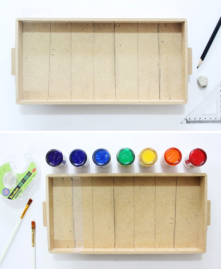 Steps to make a rainbow tray