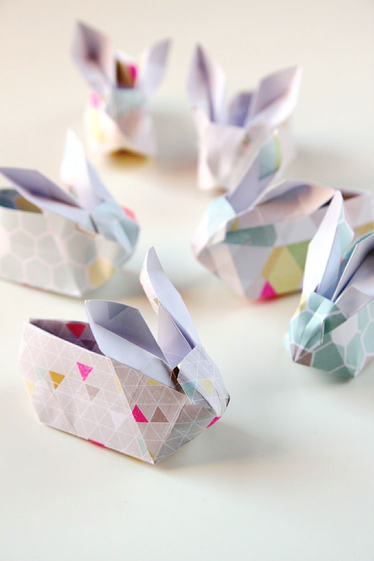 diy origami easter bunny rabbit baskets