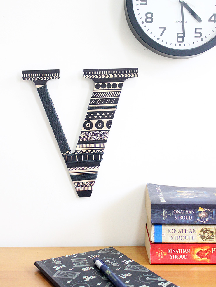 handmade letters for decoration using raffia and aztec
