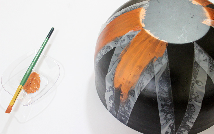 Painting on a metal bowl