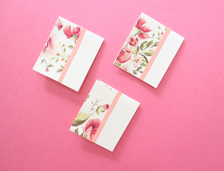 pink flower gift tag