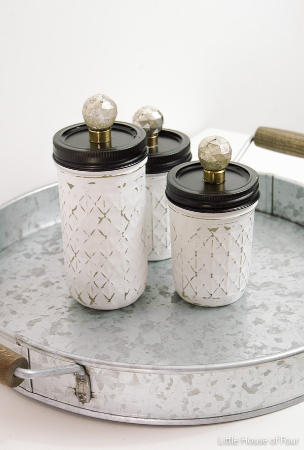 distressed mason jar set
