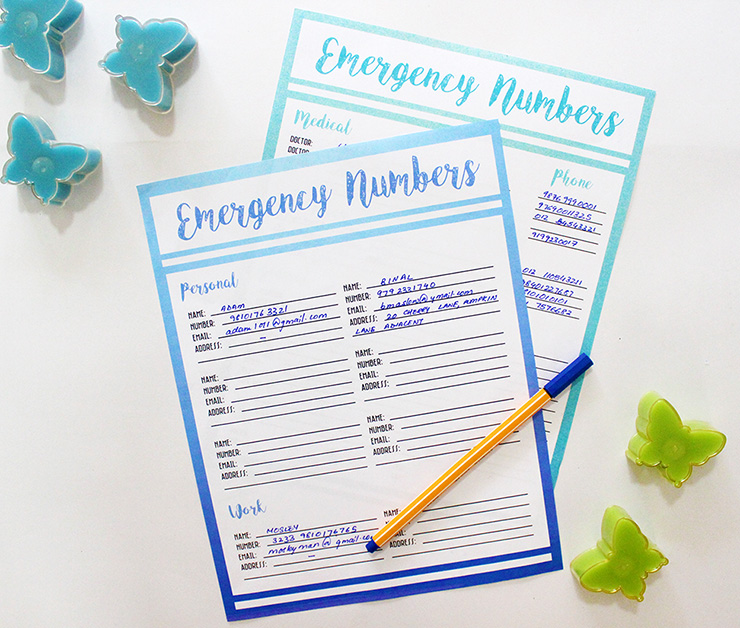 Print and Use DIY Printable Contact Lists