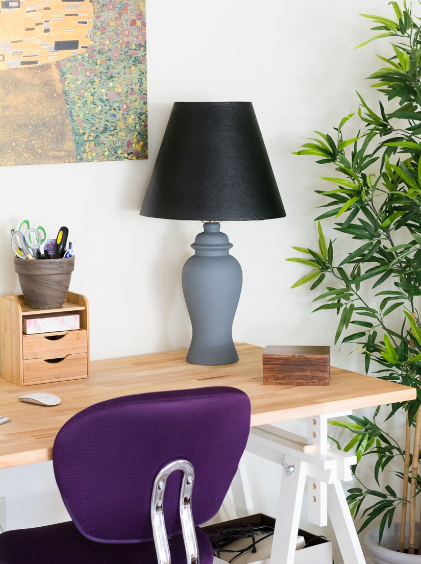 reupholstered lamp