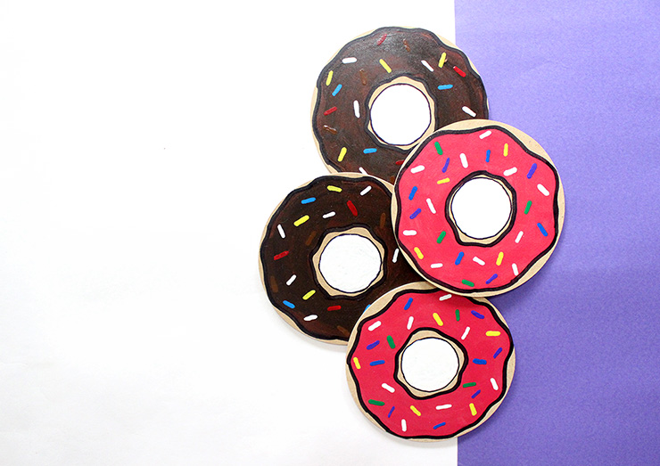 DIY Donut Coasters with sprinkles