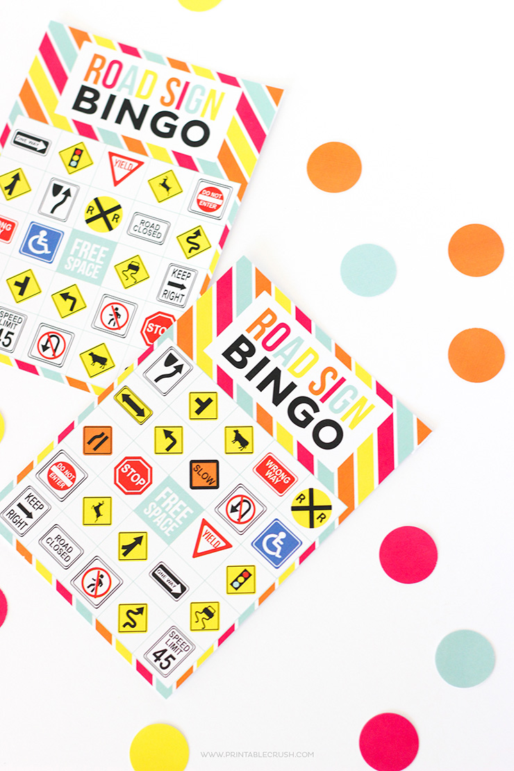 road sign bingo for road trips!