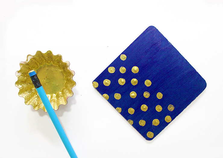 blue notepad with golden dots