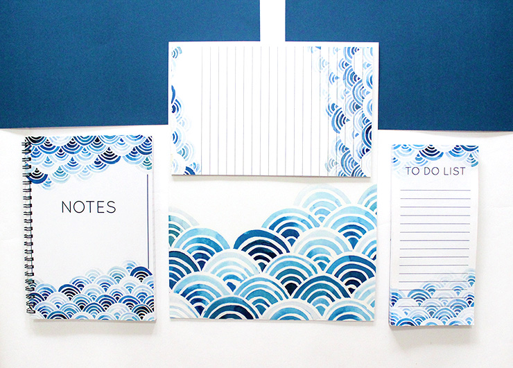 diy blue curves stationery