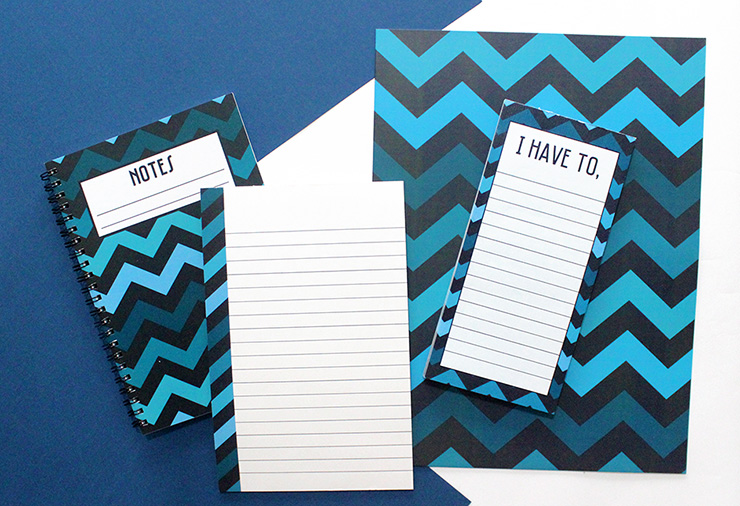 dark blue chevron customised stationery